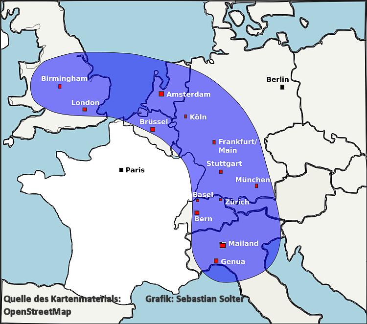 Karte: Die Blaue Banane